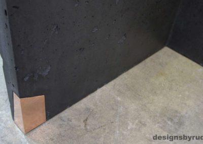 Left curve conrete console table copper accent 1, Designs by Rudy