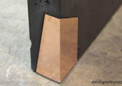 Left curve conrete console table copper accent 2, Designs by Rudy