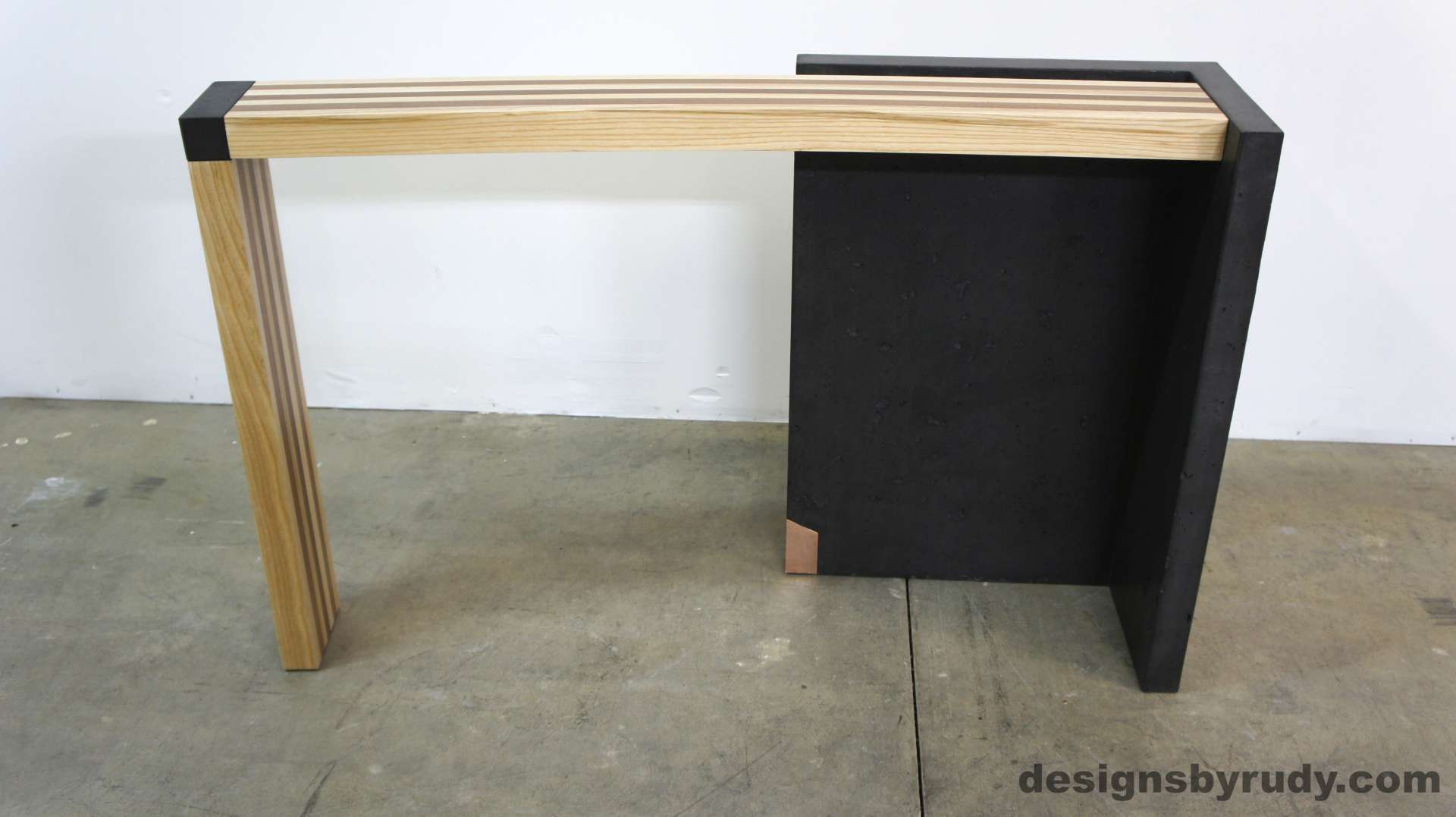 Left Curve Conrete Console Table Full Front View, Designs By Rudy