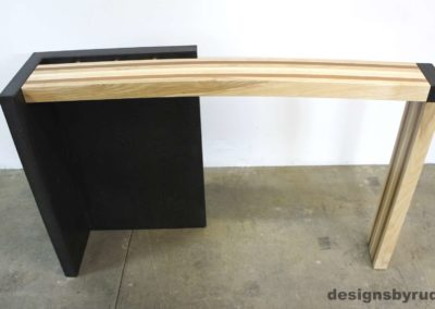 Right curve concrete console table with wooden top full front view 2, Designs by Rudy