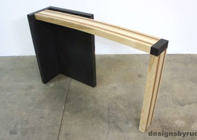 Right curve concrete console table with wooden top full front view 4, Designs by Rudy