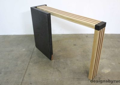 Left curve conrete console table angle back view 1, Designs by Rudy
