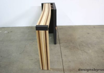 Right curve concrete console table with wooden top full head front view, Designs by Rudy