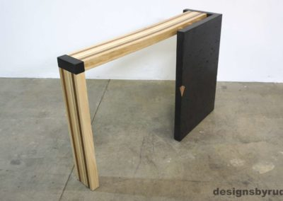 Right curve concrete console table with wooden top back view 1, Designs by Rudy