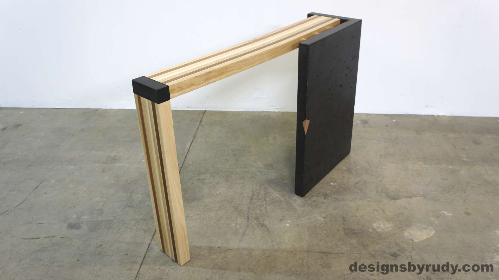 Vertical Console Table ~ Concrete console table with right or left curve solid wood top