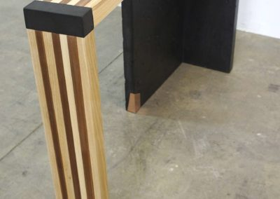 Left curve conrete console table angle left view, Designs by Rudy