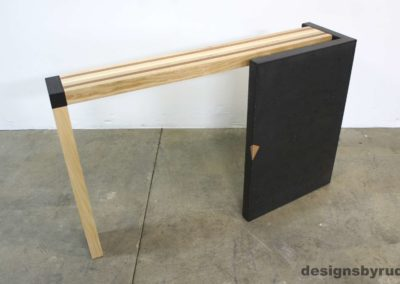 Right curve concrete console table with wooden top back view 2, Designs by Rudy