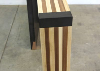 Left curve conrete console table angle front view, Designs by Rudy