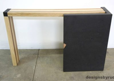 Right curve concrete console table with wooden top full back view, Designs by Rudy