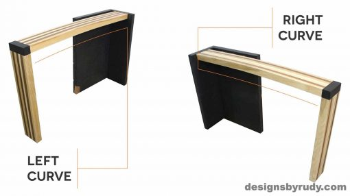 Concrete console table with left and right curve solid wood striped top, Designs by Rudy