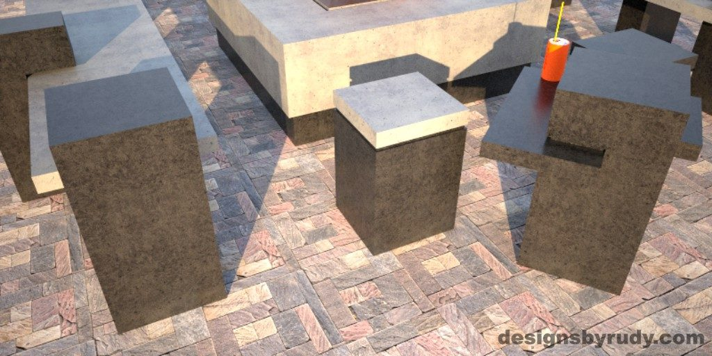 Concrete Side Table DR CB1ST1 and ST2 exterior set view 1