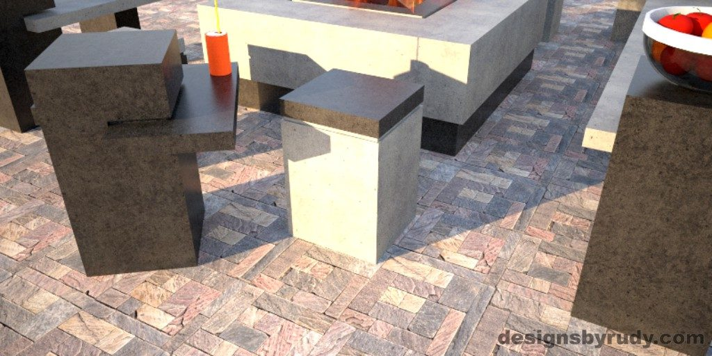 Concrete Side Table DR CB1ST1 and ST2 exterior set view 3