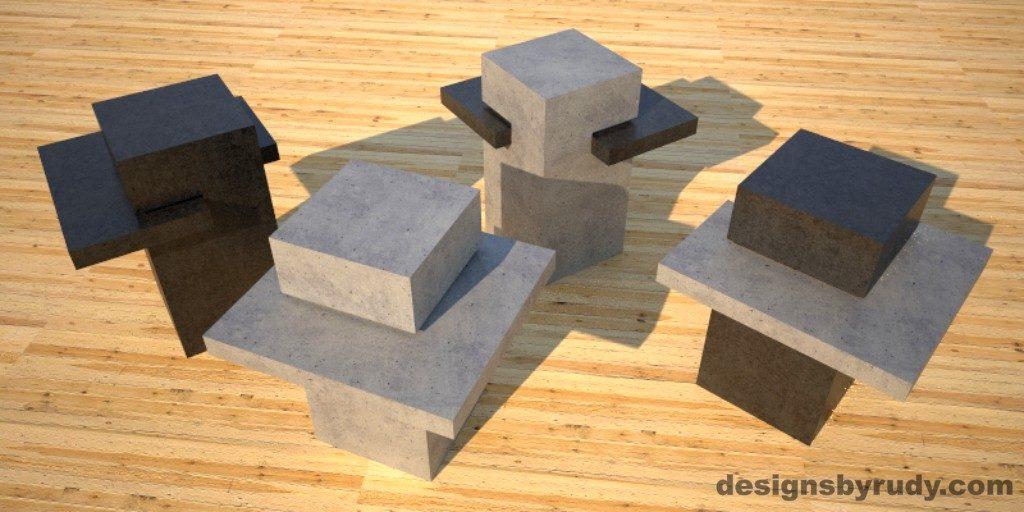 Concrete Side Table DR CB1ST2 4 color options