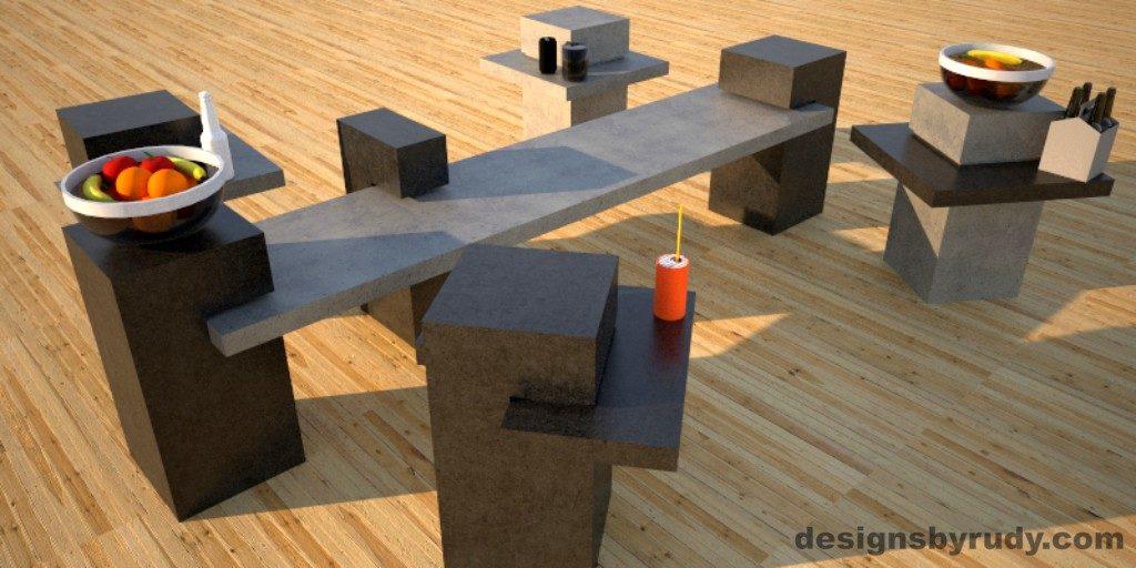 Concrete Side Table DR CB1ST2 4 color options 2