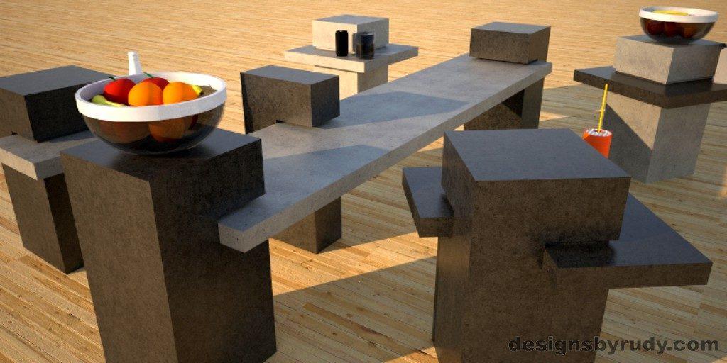 Concrete Side Table DR CB1ST2 4 color options 3