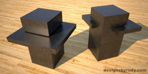 Concrete Side Table DR CB1ST2 charcoal pedestal, charcoal table