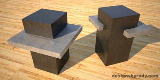 Concrete Side Table DR CB1ST2 charcoal pedestal, gray table