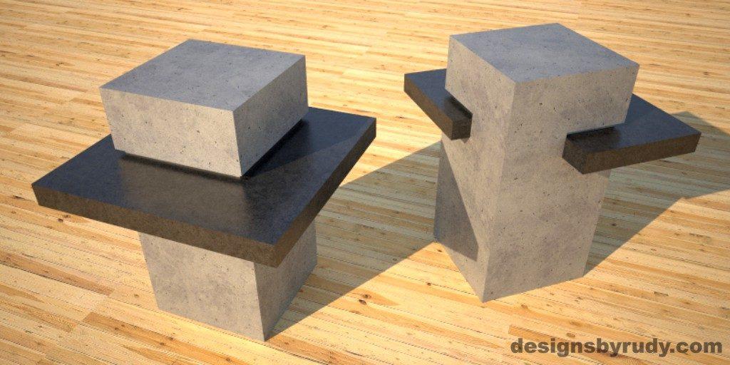 Concrete Side Table DR CB1ST2 gray pedestal, charcoal table