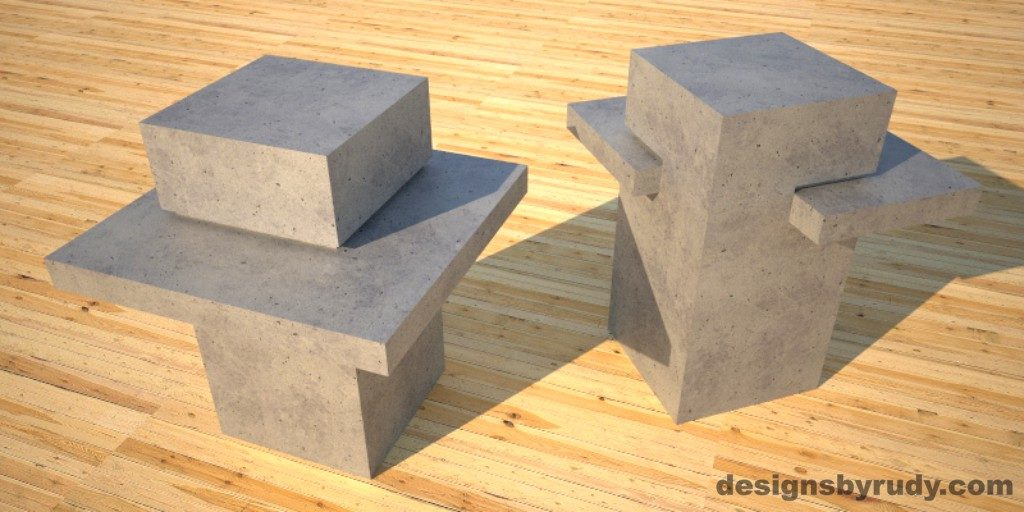 Concrete Side Table DR CB1ST2 gray pedestal, gray table