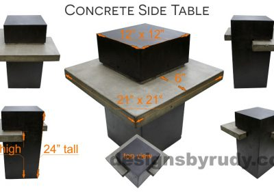 Concrete side table DR CB1ST2 dimensions