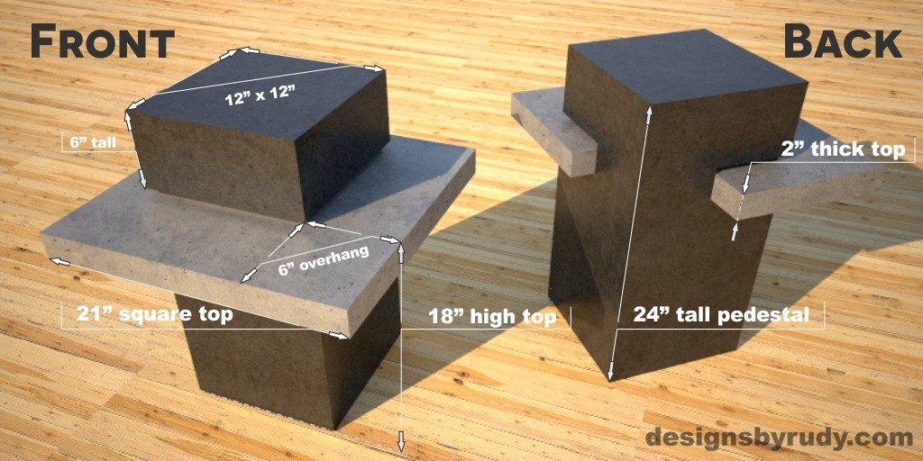 Concrete Side Table DR CB1ST2 dimensions