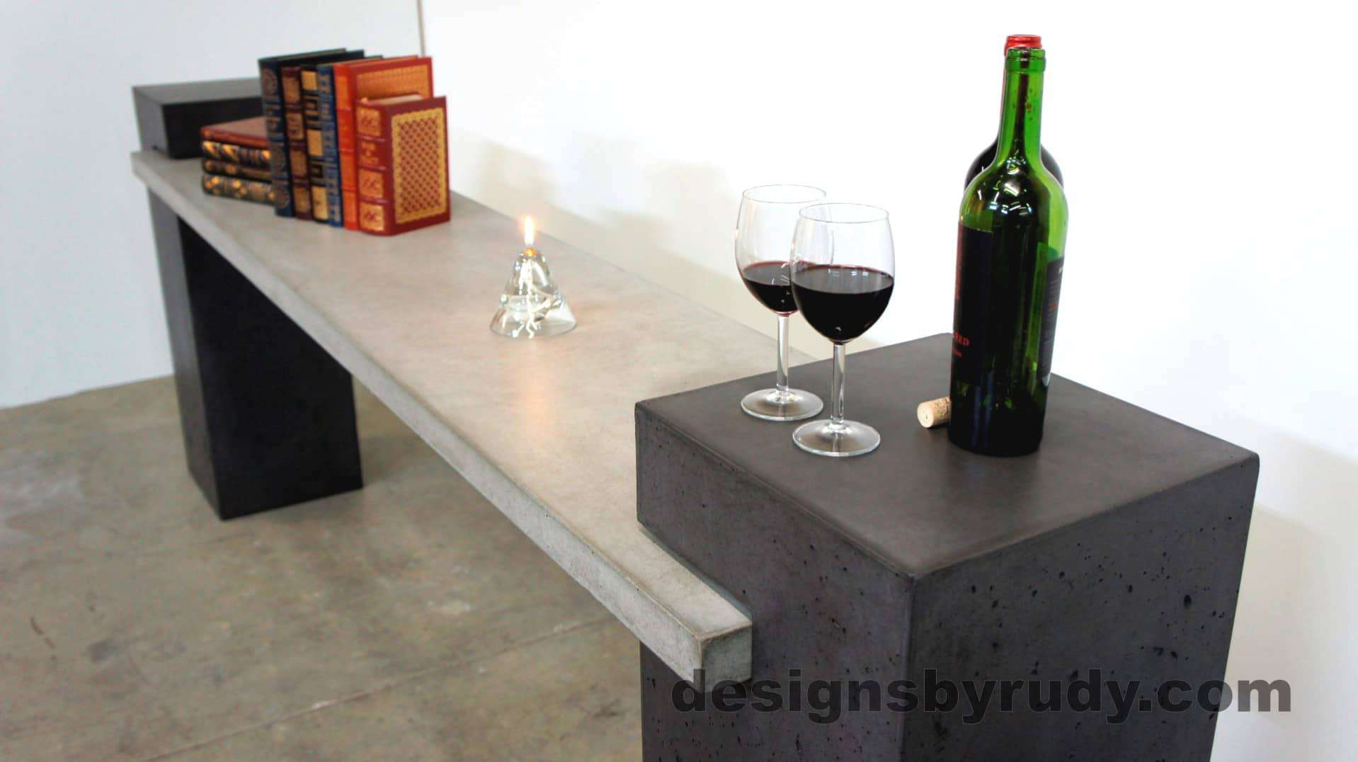 Long view of a concrete buffet table designed by Designs by Rudy