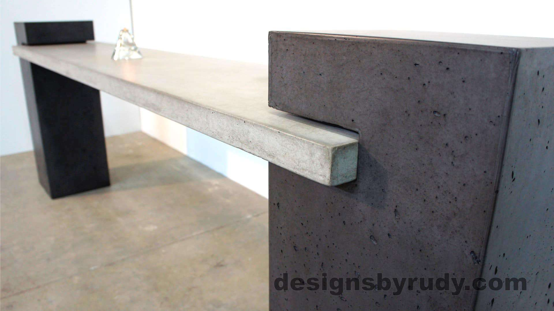 Side view of a pedestal and concrete slab joint - Concrete Buffet Table designed by Designs by Rudy