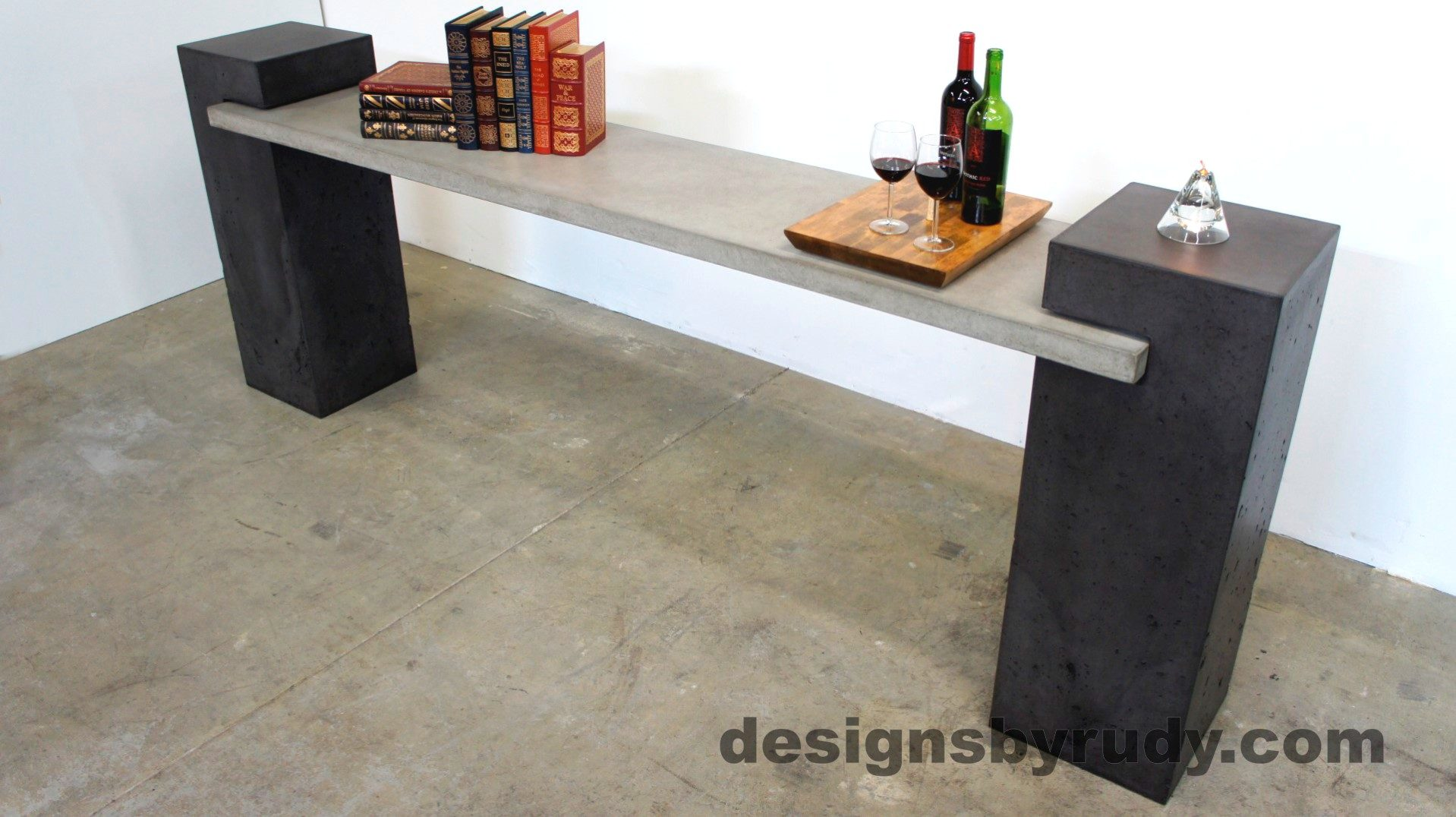 Top angle view of a Concrete Buffet Table designed by Designs by Rudy