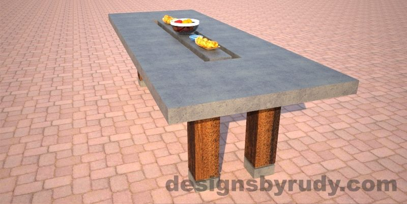 Concrete dining table top with center cutout, long view, Designs by Rudy