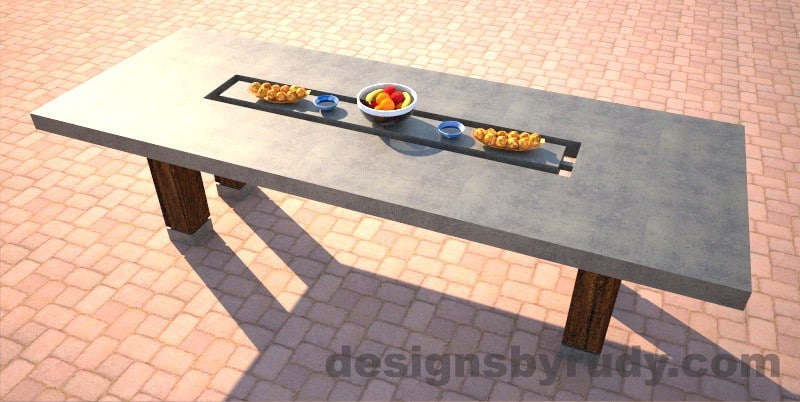 Concrete dining table with center cutout, gray side view, Designs by Rudy