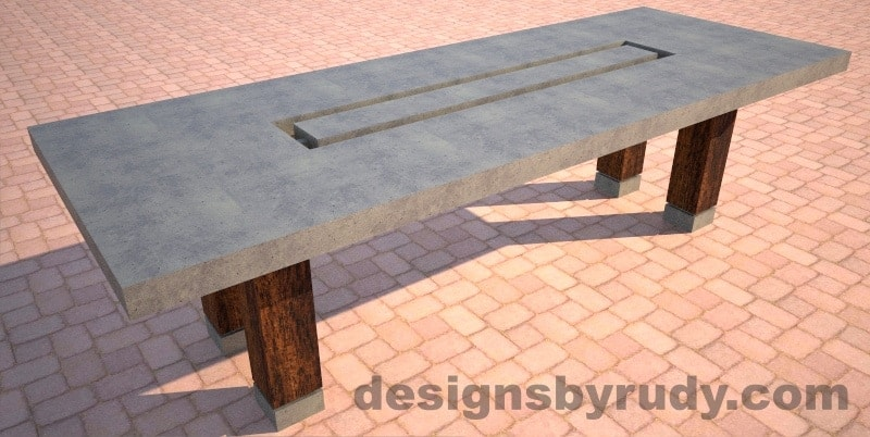 Concrete dining table with center cutout in gray, Designs by Rudy