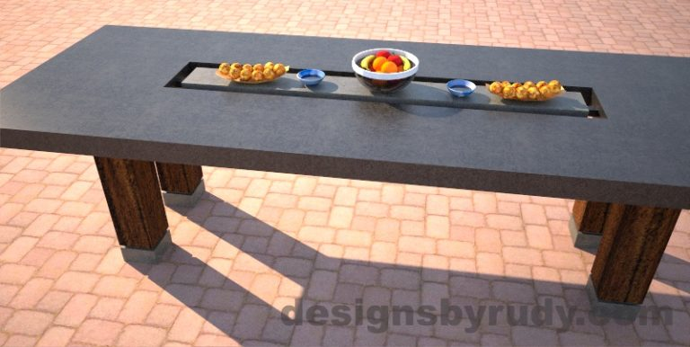 Concrete dining table with center cutout, two-tone charcoal and gray side view, Designs by Rudy
