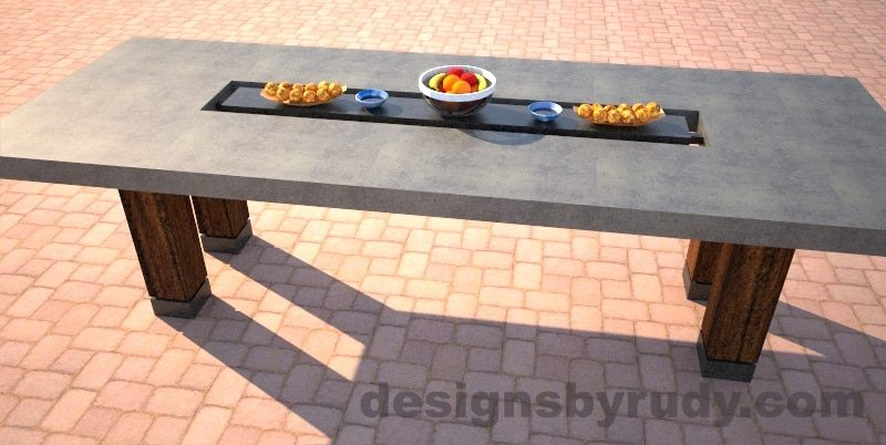 Concrete dining table with center cutout, two-tone gray and charcoal side view, Designs by Rudy