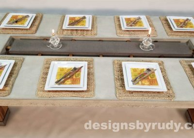 Concrete top dining table on teak legs with center serving tray, Designs by Rudy