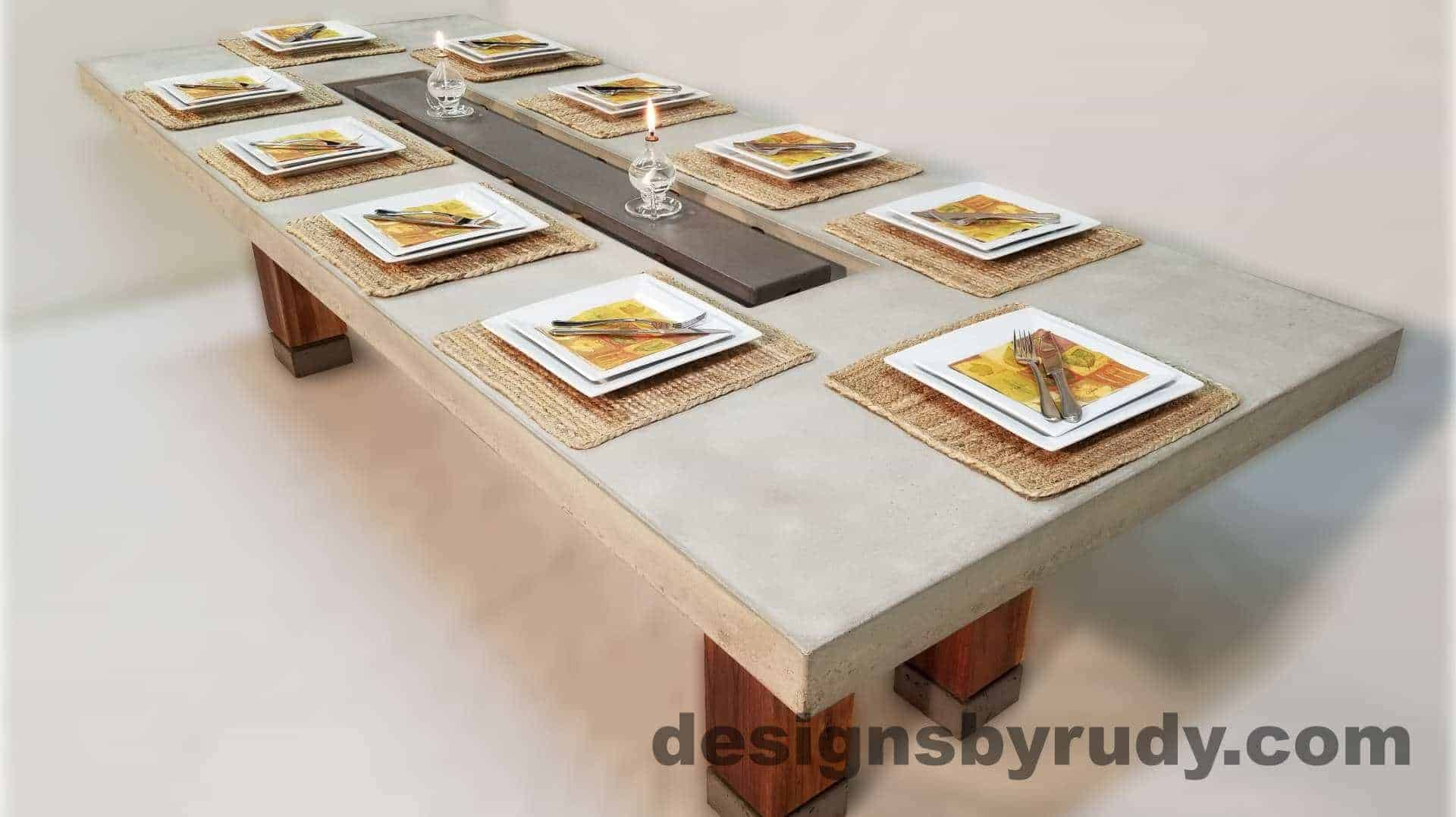 Concrete top dining table on teak legs with center serving tray - angle view, Designs by Rudy