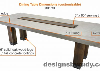 Concrete top dining table on teak legs with center serving tray - dimensions, Designs by Rudy