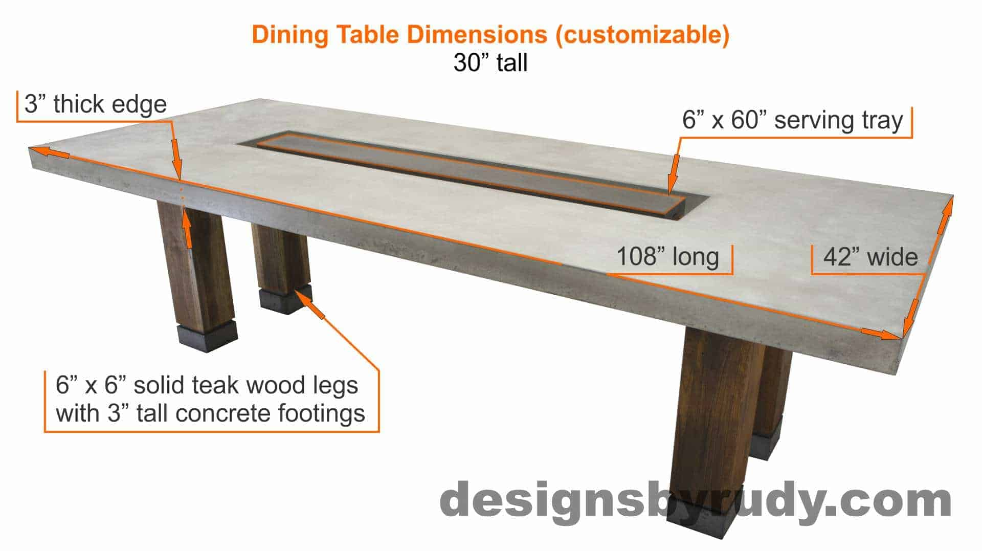 Dr dt1 concrete top dining table with center cutout and for Dining table specifications