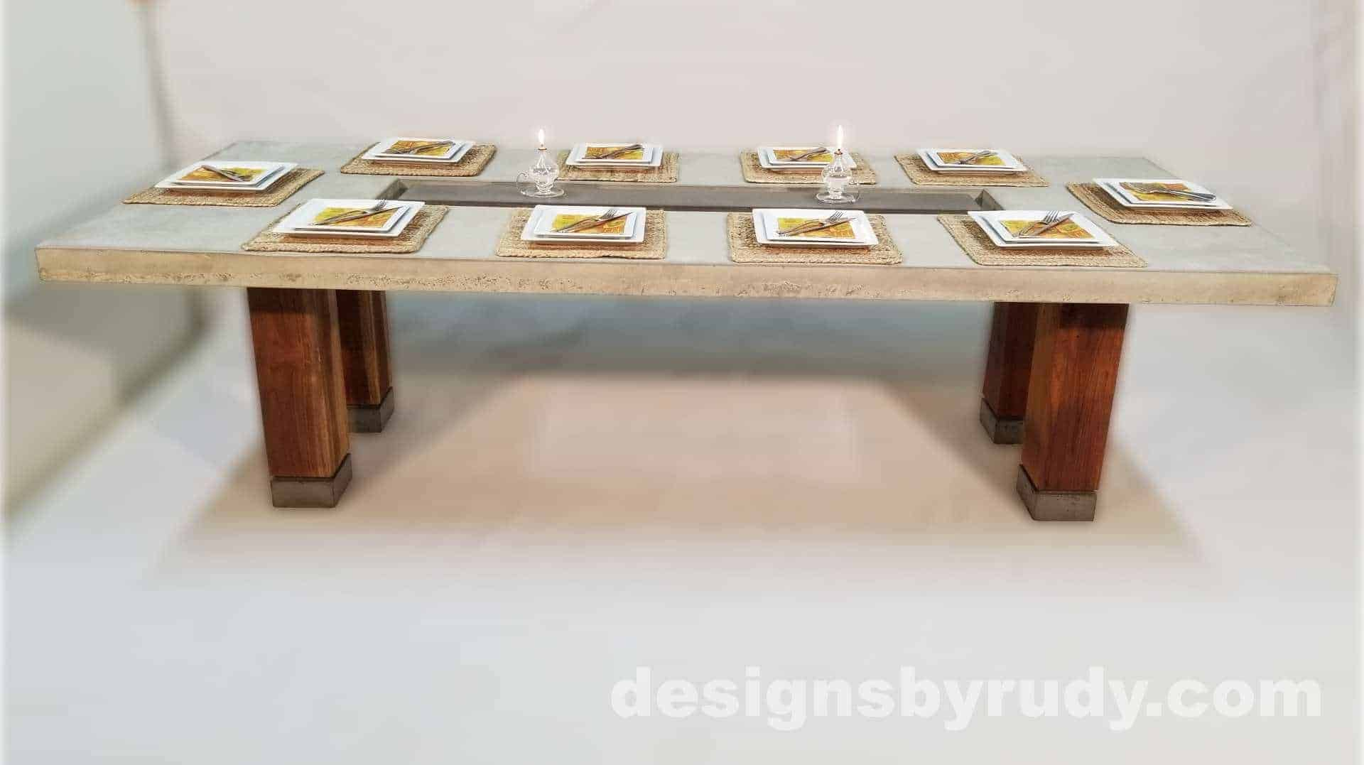 Concrete top dining table on teak legs with center serving tray - front view, Designs by Rudy
