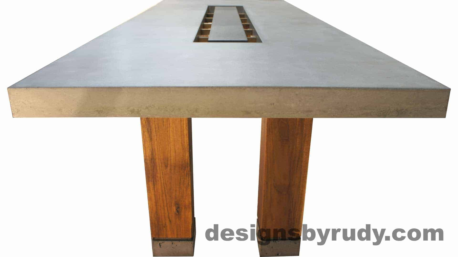 Concrete top dining table on teak legs with center serving tray -long view no deco, Designs by Rudy