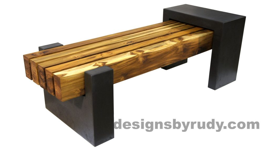 DRCB2 Concrete bench with 5 teak logs top, Designs by Rudy design and fabrication, front angle view