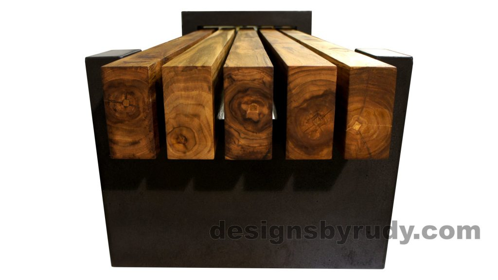 DRCB2 Concrete bench with 5 teak logs top, Designs by Rudy design and fabrication, narrow-open edge view