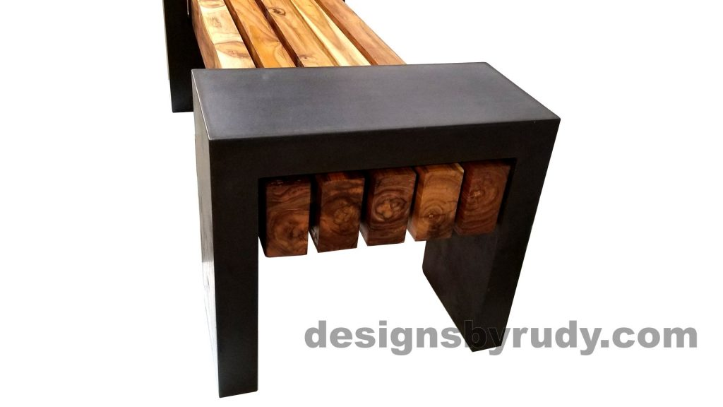 DRCB2 Concrete bench with 5 teak logs top, Designs by Rudy design and fabrication, narrow-closed edge view