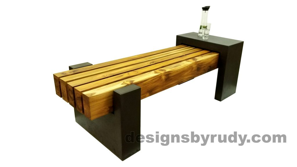 DRCB2 Concrete bench with 5 teak logs top, Designs by Rudy design and fabrication, front angle view, with water bottle