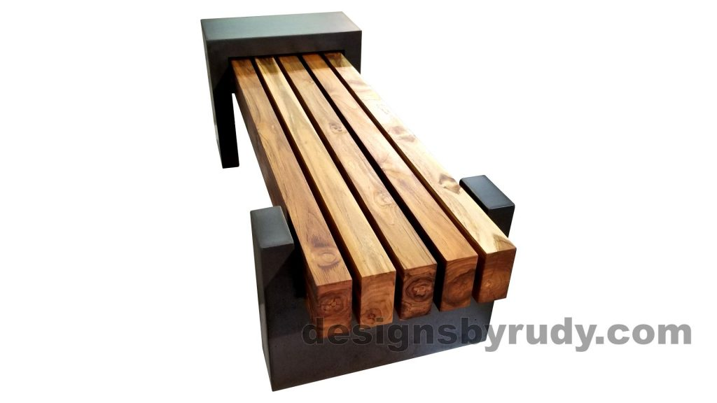 DRCB2 Concrete bench with 5 teak logs top, Designs by Rudy design and fabrication, long view 1