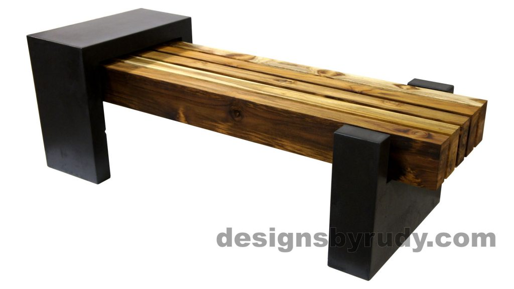 DRCB2 Concrete bench with 5 teak logs top, Designs by Rudy design and fabrication, front angle view 2