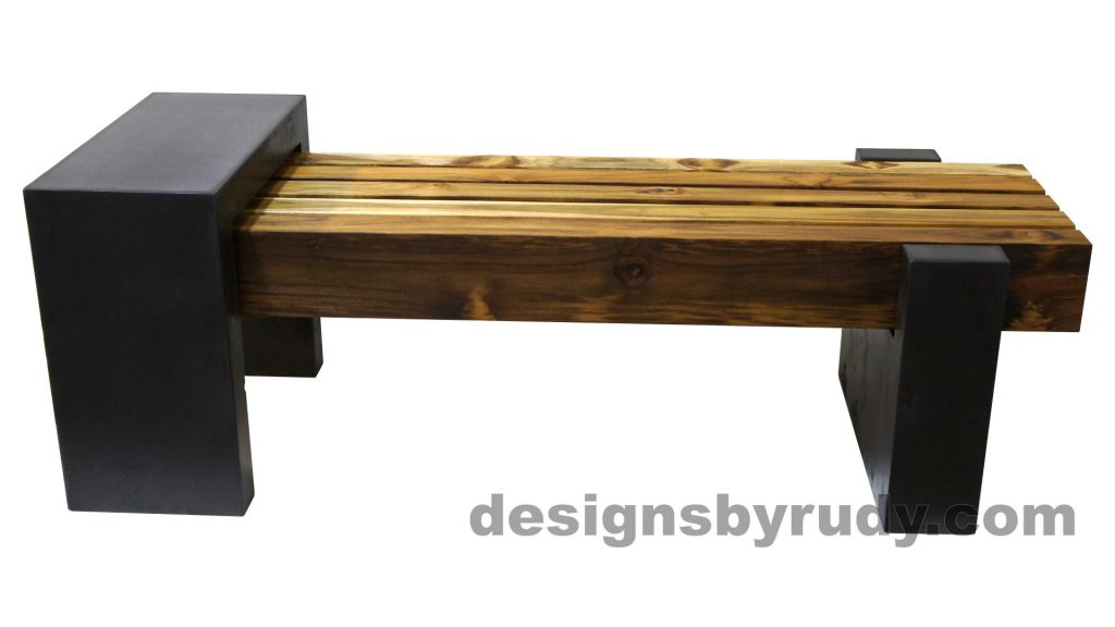DRCB2 Concrete bench with 5 teak logs top, Designs by Rudy design and fabrication, side view 1