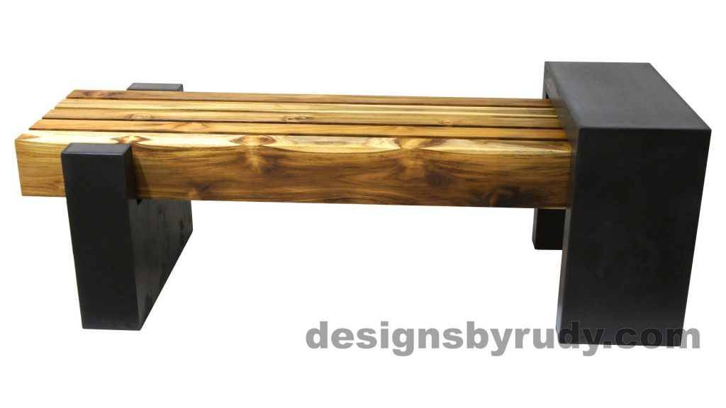 DRCB2 Concrete bench with 5 teak logs top, Designs by Rudy design and fabrication, side view 2