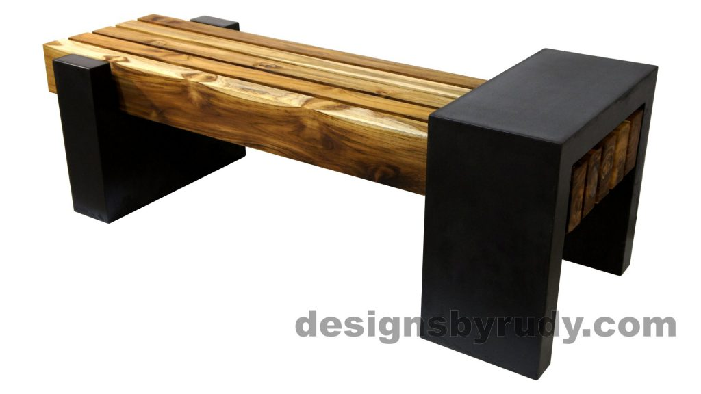 DRCB2 Concrete bench with 5 teak logs top, Designs by Rudy design and fabrication, back angle view