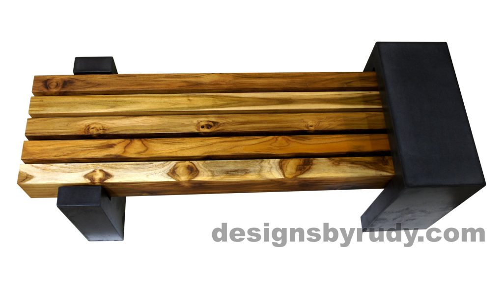 DRCB2 Concrete bench with 5 teak logs top, Designs by Rudy design and fabrication, top view