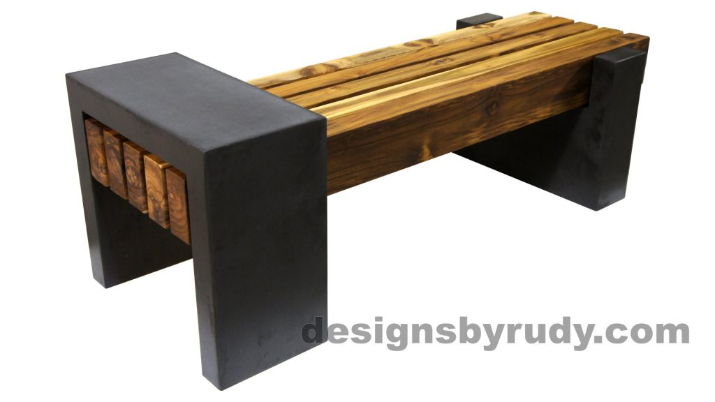 DRCB2 Concrete bench with 5 teak logs top, Designs by Rudy design and fabrication, rear angle view 2